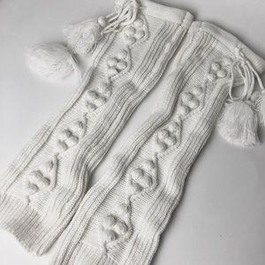Vintage Pompon ivory leg warmer boot cuff